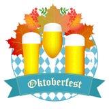 Φθινόπωρο σχεδίου Oktoberfest Μπλε υπόβαθρο Oktoberfest Ανασκόπηση φθινοπώρου με τα φύλλα Στοκ Εικόνες