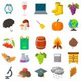 Φθινόπωρο, σύνολο σχολικών εικονιδίων Κινούμενα σχέδια και επίπεδο ύφος Άσπρη ανασκόπηση επίσης corel σύρετε το διάνυσμα απεικόνι Στοκ φωτογραφία με δικαίωμα ελεύθερης χρήσης