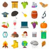 Φθινόπωρο, σύνολο σχολικών εικονιδίων Κινούμενα σχέδια και επίπεδο ύφος Άσπρη ανασκόπηση επίσης corel σύρετε το διάνυσμα απεικόνι Στοκ Φωτογραφίες
