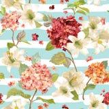 Φθινόπωρο Hortensia και υπόβαθρα λουλουδιών κρίνων Άνευ ραφής Floral Shabby κομψό σχέδιο διανυσματική απεικόνιση