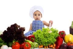 φθορά λαχανικών καπέλων αρχιμαγείρων μωρών Στοκ Εικόνες