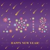 2018 φιαγμένο από snowflakes Συρμένα χέρι ζωηρόχρωμα Snowflakes Shinning τακτοποίησαν στη μορφή του 2018 στο νυχτερινό ουρανό με  ελεύθερη απεικόνιση δικαιώματος