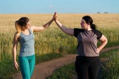 Φιλία, κίνητρο, ομάδα workout, απώλεια βάρους στοκ εικόνες με δικαίωμα ελεύθερης χρήσης