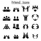 Φιλία & σύνολο εικονιδίων φίλων ελεύθερη απεικόνιση δικαιώματος