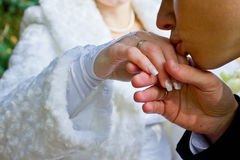 φιλιά χεριών νεόνυμφων νυφών Στοκ Εικόνα