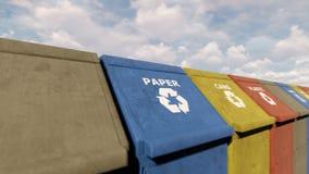 Φιλικά προς το περιβάλλον ζωηρόχρωμα δοχεία ανακύκλωσης για τα διαφορετικά απορρίματα στο πάρκο πόλεων μια ηλιόλουστη ημέρα Περιτ διανυσματική απεικόνιση