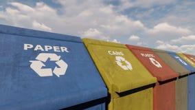 Φιλικά προς το περιβάλλον ζωηρόχρωμα δοχεία ανακύκλωσης για τα διαφορετικά απορρίματα στο πάρκο πόλεων μια ηλιόλουστη ημέρα r διανυσματική απεικόνιση