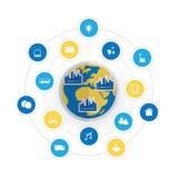 Φιλική έξυπνη έννοια σχεδίου πόλεων Eco με τα εικονίδια - σύννεφο που υπολογίζει, IoT, IIoT, δομή δημόσιων δικτύων, έννοια τεχνολ Στοκ Εικόνες