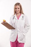 Φιλική καυκάσια νοσοκόμα γιατρών εργαζομένων υγειονομικής περίθαλψης Στοκ Εικόνες