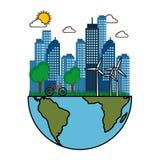Φιλική πόλη Eco απεικόνιση αποθεμάτων