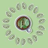 Φιλική SPA αφίσα Eco με το βοτανικό τσάι Πηγαίνετε πράσινη διαβίωση ελεύθερη απεικόνιση δικαιώματος