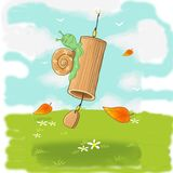 Φιλικό ευαίσθητο σαλιγκάρι στα κουδούνια μπαμπού διανυσματική απεικόνιση