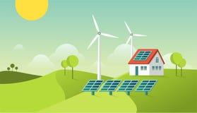 Φιλικό σύγχρονο σπίτι Eco ενεργειακή πράσινη απει&kappa Ηλιακή και γεωθερμική δύναμη Διανυσματική έννοια Στοκ Εικόνες