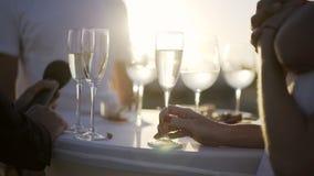 Φιλοξενούμενοι στο υπαίθριο γαμήλιο γεγονός απόθεμα βίντεο