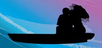 Φιλώντας ζεύγη σε μια βάρκα διανυσματική απεικόνιση