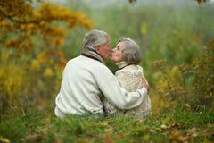 φιλώντας πρεσβύτερος ζευγών Στοκ Εικόνες