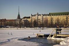 Φινλανδία: Χειμερινή κολύμβηση Στοκ φωτογραφία με δικαίωμα ελεύθερης χρήσης