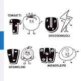 Φινλανδικό αλφάβητο Ντομάτα, αστραπή, καρπούζι, βιενέζικα Διανυσματικοί γράμματα και χαρακτήρες Στοκ Εικόνες