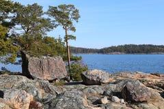 Φινλανδία: Ακτή της θάλασσας της Βαλτικής Στοκ Φωτογραφία