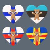 Φινλανδικό, εσθονικά, Faroese και Aland Teddy αντέχει Στοκ φωτογραφίες με δικαίωμα ελεύθερης χρήσης