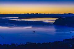 Φιορδ και τοπίο βουνών, νησί Chiloe, Χιλή Στοκ Εικόνα