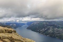 Φιορδ Νορβηγία Preikestolen στοκ φωτογραφία με δικαίωμα ελεύθερης χρήσης