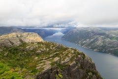 Φιορδ Νορβηγία Preikestolen στοκ φωτογραφία