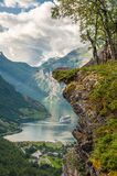 Φιορδ Geiranger, Νορβηγία Στοκ Εικόνα