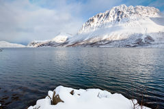 Φιορδ που περιβάλλεται νορβηγικό από τα βουνά χιονιού Στοκ Εικόνες