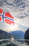 Φιορδ Geiranger με το ταξίδι κρουαζιέρας στη Νορβηγία Στοκ Εικόνες