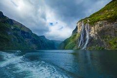 φιορδ geiranger Νορβηγία καταρράκτης επτά αδελφών Στοκ εικόνα με δικαίωμα ελεύθερης χρήσης