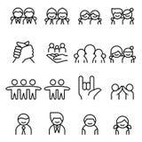 Φιλία & εικονίδιο φίλων που τίθεται στο λεπτό ύφος γραμμών διανυσματική απεικόνιση