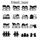 Φιλία & εικονίδιο φίλων που τίθεται στο λεπτό ύφος γραμμών ελεύθερη απεικόνιση δικαιώματος