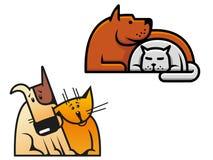 Φιλία του σκυλιού και της γάτας ελεύθερη απεικόνιση δικαιώματος