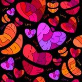 Φιλί, αγάπη, καρδιά πρότυπο άνευ ραφής Στοκ Φωτογραφία