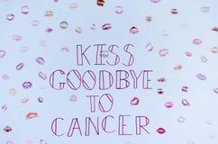 Φιλί αντίο στο σημάδι UK καρκίνου Στοκ Εικόνα