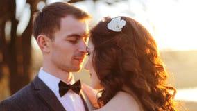 φιλί νεόνυμφων νυφών ρομαντ&io Newlyweds απόθεμα βίντεο