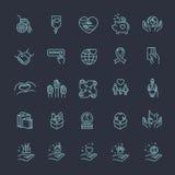 Φιλανθρωπία - σύγχρονα διανυσματικά εικονίδια και εικονογράμματα σχεδίου γραμμών καθορισμένα Στοκ Εικόνες