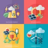 Φιλικές προς το περιβάλλον έννοιες ενεργειακού επίπεδες σχεδίου, εμβλήματα Στοκ εικόνες με δικαίωμα ελεύθερης χρήσης