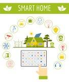 Φιλική έξυπνη έννοια σπιτιών Eco Πρότυπο Infographic Επίπεδο sty ελεύθερη απεικόνιση δικαιώματος