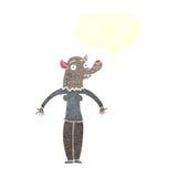 φιλική γυναίκα werewolf κινούμενων σχεδίων με τη λεκτική φυσαλίδα Στοκ εικόνες με δικαίωμα ελεύθερης χρήσης
