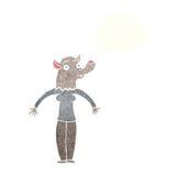 φιλική γυναίκα werewolf κινούμενων σχεδίων με τη σκεπτόμενη φυσαλίδα Στοκ φωτογραφία με δικαίωμα ελεύθερης χρήσης