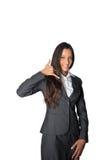 Φιλική επιχειρηματίας που κάνει μια κλήση μου χειρονομία Στοκ φωτογραφία με δικαίωμα ελεύθερης χρήσης