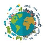 Φιλική, πράσινη ενεργειακή έννοια Eco, διάνυσμα επίπεδο Στοκ Εικόνες