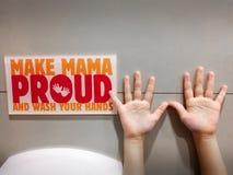 Φιλική υπενθύμιση για να θυμηθεί να πλύνει τα χέρια σας Στοκ Φωτογραφία