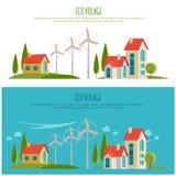 Φιλικό αστικό τοπίο Eco εναλλακτική ενέργεια τρισδιάστατος απομονωμένος απεικόνιση αέρας ισχύος Στοκ φωτογραφία με δικαίωμα ελεύθερης χρήσης