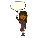 φιλικό κορίτσι μαγισσών κινούμενων σχεδίων με τη λεκτική φυσαλίδα Στοκ φωτογραφίες με δικαίωμα ελεύθερης χρήσης