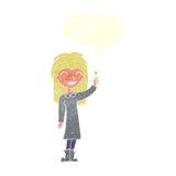 φιλικό κορίτσι μαγισσών κινούμενων σχεδίων με τη λεκτική φυσαλίδα Στοκ Εικόνα
