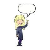 φιλικό κορίτσι μαγισσών κινούμενων σχεδίων με τη λεκτική φυσαλίδα Στοκ Εικόνες