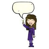 φιλικό κορίτσι μαγισσών κινούμενων σχεδίων με τη λεκτική φυσαλίδα Στοκ εικόνες με δικαίωμα ελεύθερης χρήσης